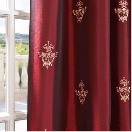 Trophy Syrah Red Designer Embroidered Curtain