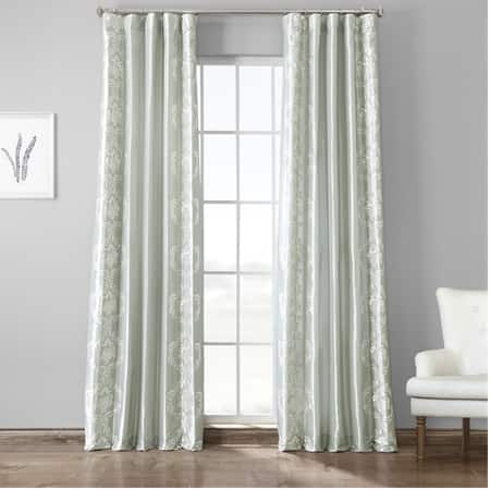 Anastasia Sterling Embroidered Faux Silk Curtain