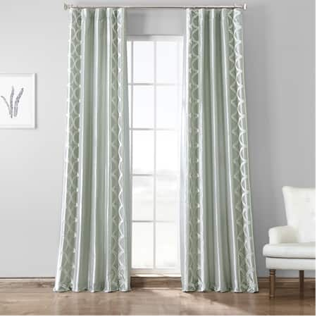 Espalier Sterling Embroidered Faux Silk Curtain