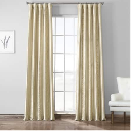 Papillon Silver Taupe Embroidered Faux Silk Curtain