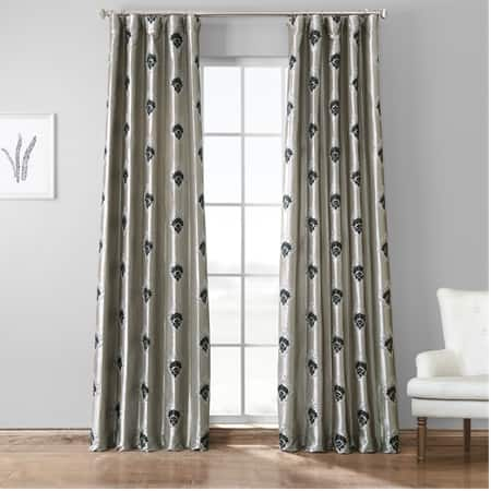 Elias Platinum Embroidered Faux Silk Taffeta Curtain