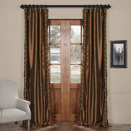 Greco Copper Brown Designer Embroidered Curtain