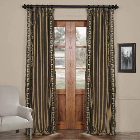 Greco Mushroom Taupe Designer Embroidered Curtain
