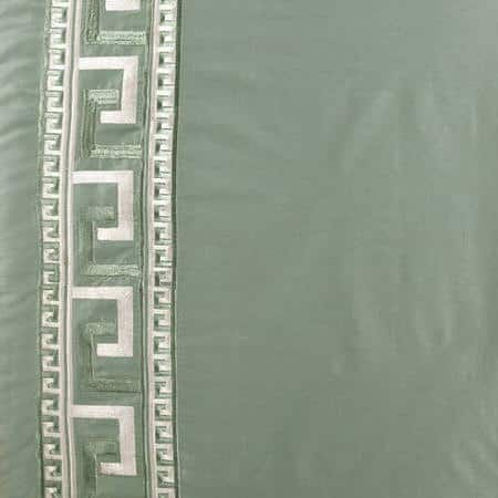 Greco Robins Egg Embroidered Faux Silk Fabric