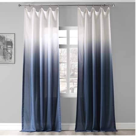 Ombre Blue Faux Linen Sheer Curtain