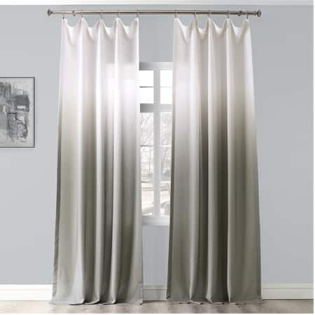 Ombre Slate Faux Linen Semi Sheer Curtain