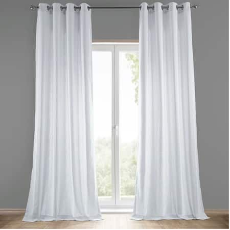 Rice White Grommet Heavy Faux Linen Curtain