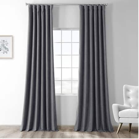 Modern Grey Thermal Room Darkening Heathered Italian Woolen Weave Curtain