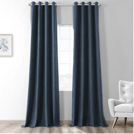 Dark Denim Blue Thermal Room Darkening Heathered Italian Woolen Weave Grommet Curtain