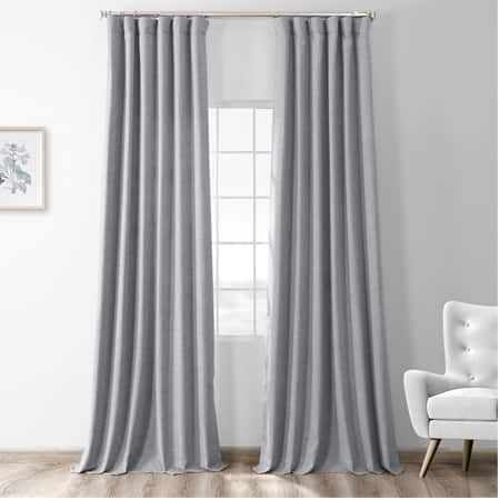 Steely Grey Thermal Room Darkening Heathered Italian Woolen Weave Curtain