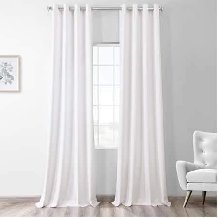 Snow White Thermal Room Darkening Heathered Italian Woolen Weave Grommet Curtain