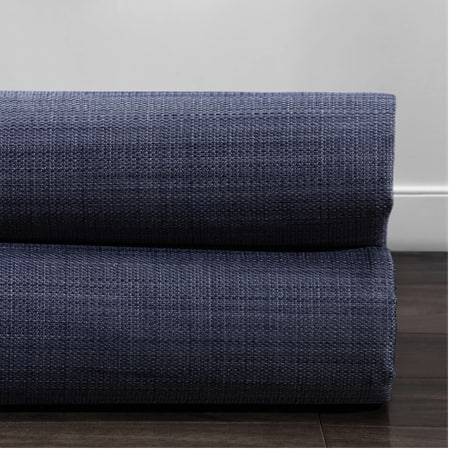 Pacific Blue Italian Textured Faux Linen Hotel Blackout Swatch