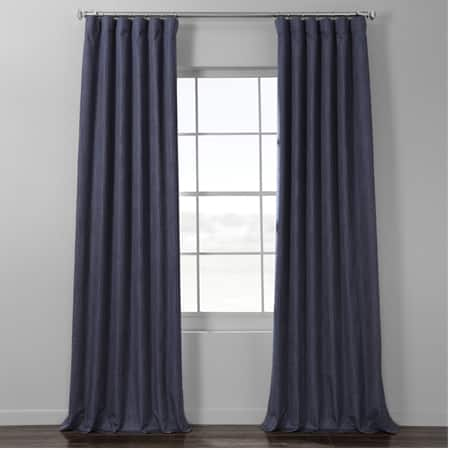 Pacific Blue Italian Textured Faux Linen Hotel Blackout Curtain