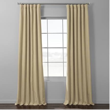 Classic Tan Italian Textured Faux Linen Hotel Blackout Curtain