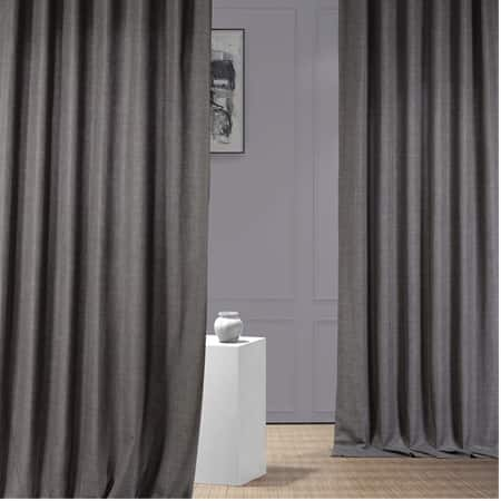 Anchor Grey Italian Faux Linen Curtain