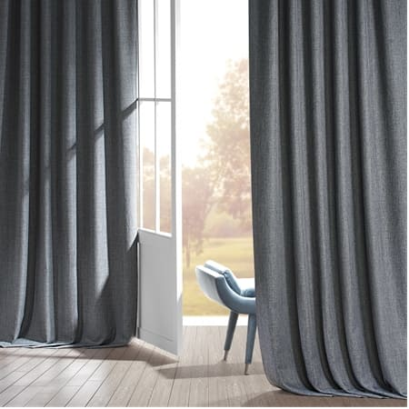 Signature Global Grey Faux Linen Blackout Curtain