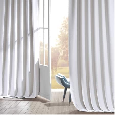 Signature Mission White Faux Linen Blackout Curtain