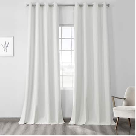 Starlight Off White Vintage Thermal Cross Linen Weave Max Blackout Grommet Curtain