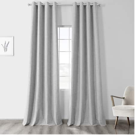 Millennial Grey Vintage Thermal Cross Linen Weave Max Blackout Grommet Curtain