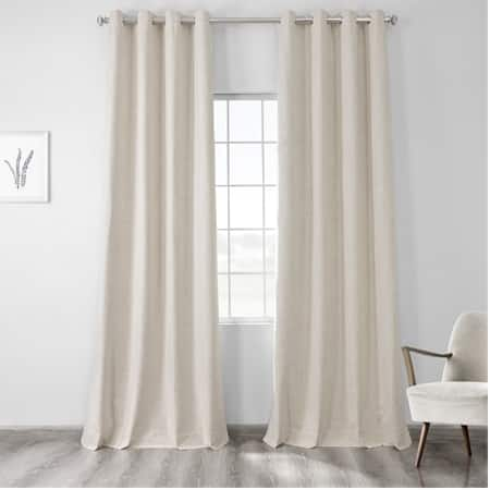 Natural Light Beige Vintage Thermal Cross Linen Weave Max Blackout Grommet Curtain