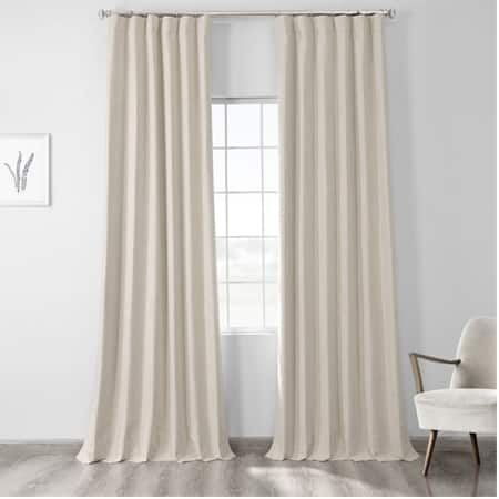 Natural Light Beige Vintage Thermal Cross Linen Weave Max Blackout Curtain