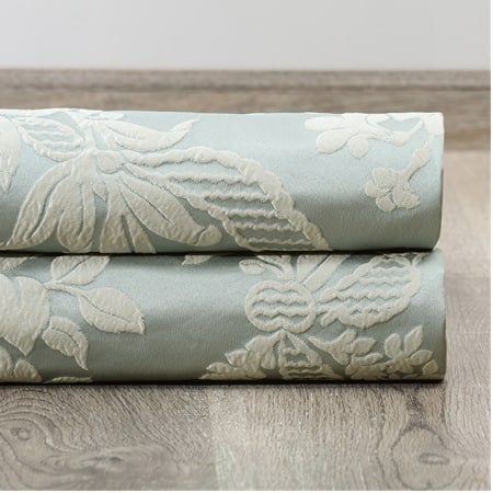 Magdelena Steel Blue & Silver Faux Silk Jacquard Fabric