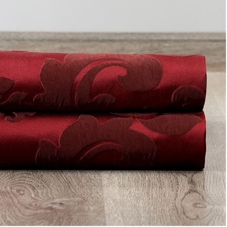 Astoria Red & Bronze Faux Silk Jacquard Curtain