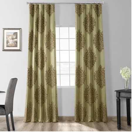 Ellaria Mantis Green Designer Damask Curtain