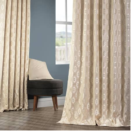 Paragon Sand Faux Silk Jacquard Curtain