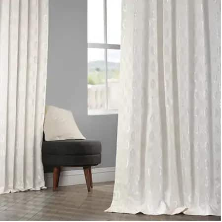 Paragon Cream Faux Silk Jacquard Curtain
