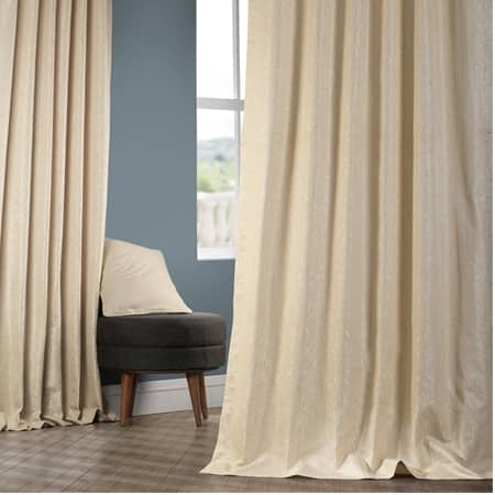 Birchwood Sand Faux Silk Jacquard Curtain