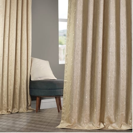 Latika Camel Faux Silk Jacquard Curtain