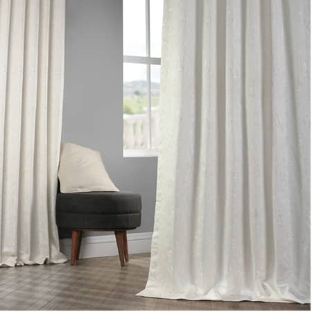 Latika Cream Faux Silk Jacquard Curtain