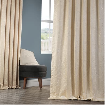 Latika Sand Faux Silk Jacquard Curtain