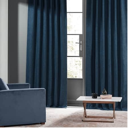 Lake Blue Monochromatic Faux Linen Room Darkening Curtain Pair (2 Panels)