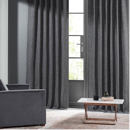 Hudson Grey Monochromatic Faux Linen Room Darkening Curtain Pair (2 Panels)