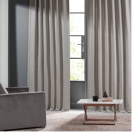 Highland Tan Monochromatic Faux Linen Room Darkening Curtain Pair (2 Panels)