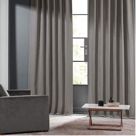 Warm Stone Grey Monochromatic Faux Linen Room Darkening Curtain Pair (2 Panels)