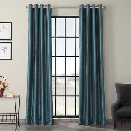Peacock Grommet Blackout Vintage Textured Faux Dupioni Silk Curtain