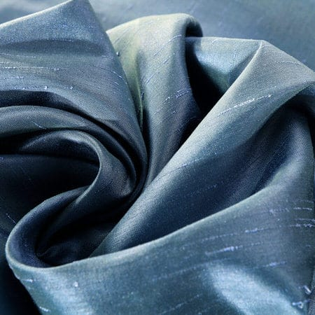 Provencial Blue Vintage Textured Faux Dupioni Silk Fabric
