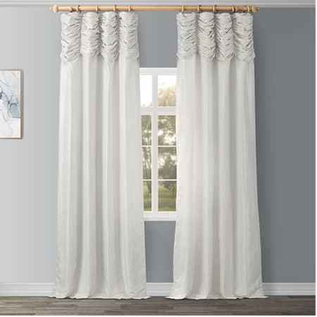 Off White Ruched Vintage Textured Faux Dupioni Silk Curtain