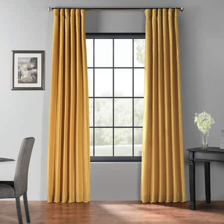 Allegro Gold Blackout Vintage Textured Faux Dupioni Silk Curtain