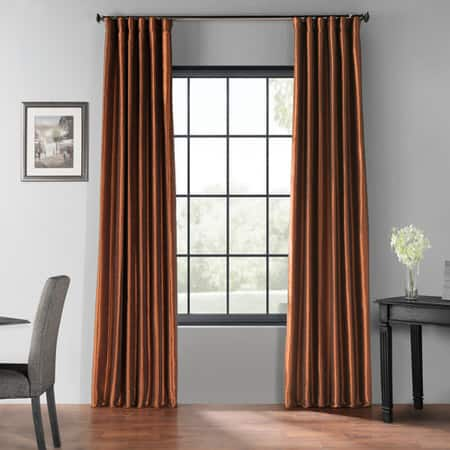 Copper Kettle Blackout Vintage Textured Faux Dupioni Silk Curtain