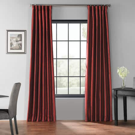 Ruby Blackout Vintage Textured Faux Dupioni Silk Curtain