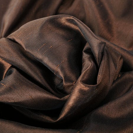 Coffee Bean Vintage Textured Faux Dupioni Silk Fabric