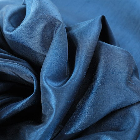 Captian's Blue Vintage Textured Faux Dupioni Silk Fabric