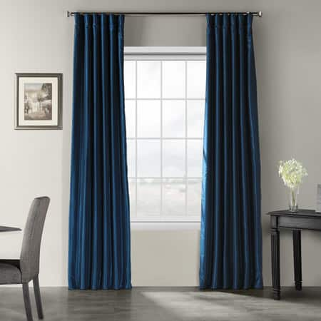 Captain's Blue Vintage Textured Faux Dupioni Silk Curtain