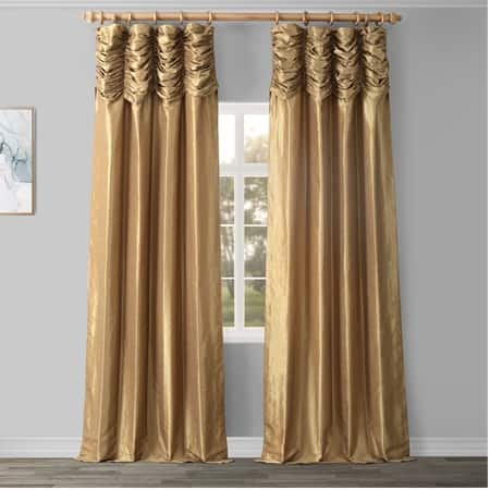 Flax Gold Ruched Vintage Textured Faux Dupioni Silk Curtain
