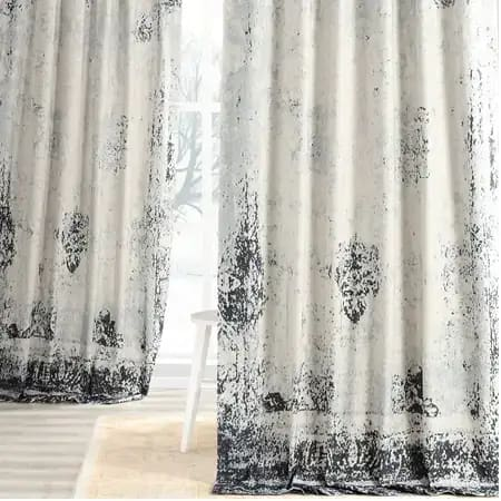 Bazaar Indigo Digital Printed Cotton Twill Curtain