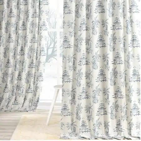 Pagoda Blue Digital Printed Cotton Twill Curtain